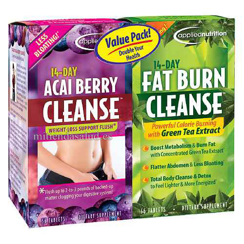 14-Day Acai Berry Cleanse + 14-Day Fat Burn Cleanse Applied Nutrition (combo) 56 capsulas cada bote