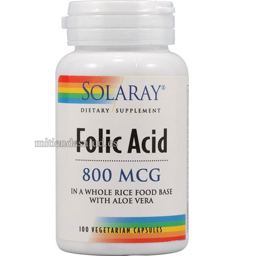 Acido Folico 800 mcg Solaray 100 capsulas