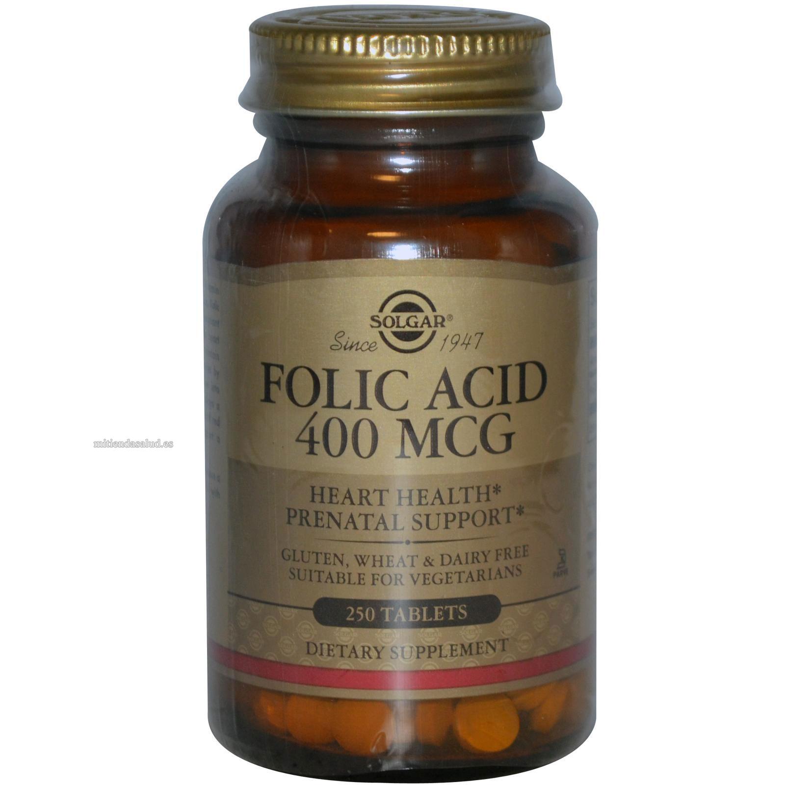 Acido Folico 400 mg Solgar 100 tabletas