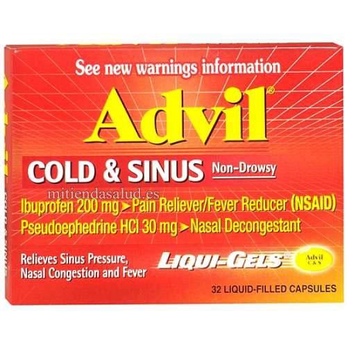 Advil Cold Sinus Resfriado Y Gripe 32 Capsulas