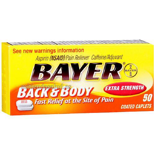 Bayer Extra Strenght- Aspirina para Aliviar dolor de espalda y cuerpo 50 capsulas