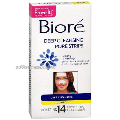 Biore Deep Cleansing Pore Strips (Tiras limpiadoras de poros) Combo Pack- 14 tiras y 7 tiras faciales