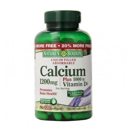 Coral Calcio 1000 mg Plus Vitamina D y Magnesio Nature's Bounty 120 capsulas
