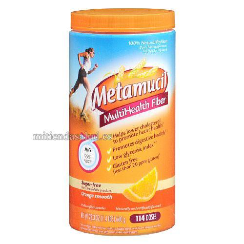 Metamucil MultiHealth Fiber Sugar Free (sin azucar) en polvo sabor a naranja 23.3 oz