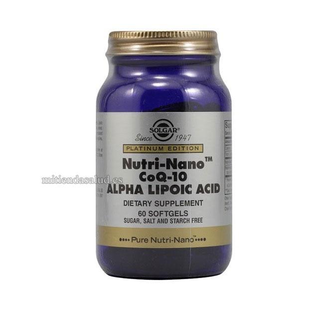 Nutri-Nano CoQ-10 Acido Alfa Lipoico Solgar 60 capsulas