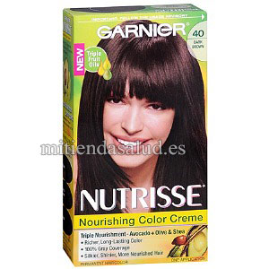 Tinte para Cabello Garnier Nutrisse Nourishing Color Creme #40 Dark Brown Hair Color