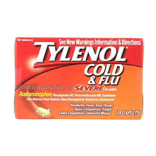 Tylenol Cold & Flu Severe para resfriados y gripe de Adultos 24 capsulas