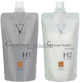 Yuko G-Cream Alisado para cabello Natural a grueso - Set de Solucion y Neutralizador (H1/H2 SET)